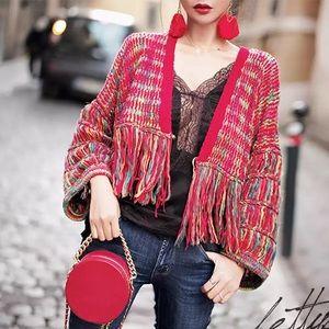 NWT💥M💥Red multi color crop jacket sweater fringe